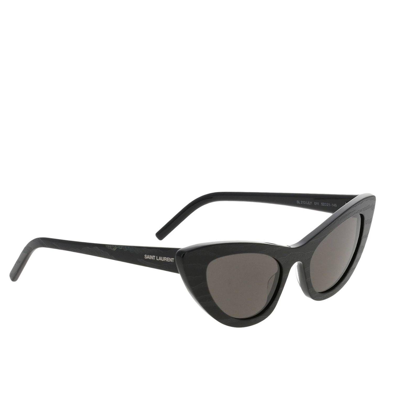 Sl213 glasses in striped acetate by Saint Laurent black 1