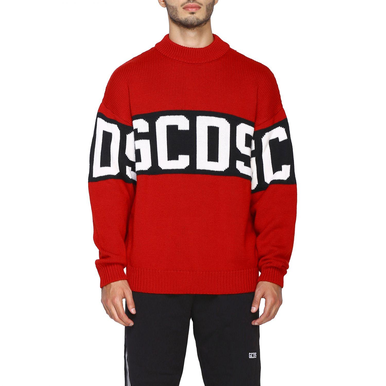 Pullover GCDS a maniche lunghe con maxi logo rosso 1