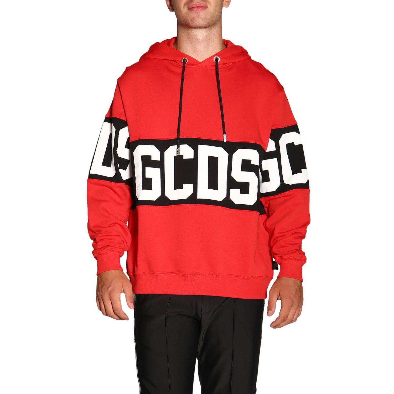 Felpa GCDS a maniche lunghe con maxi logo e cappuccio rosso 1