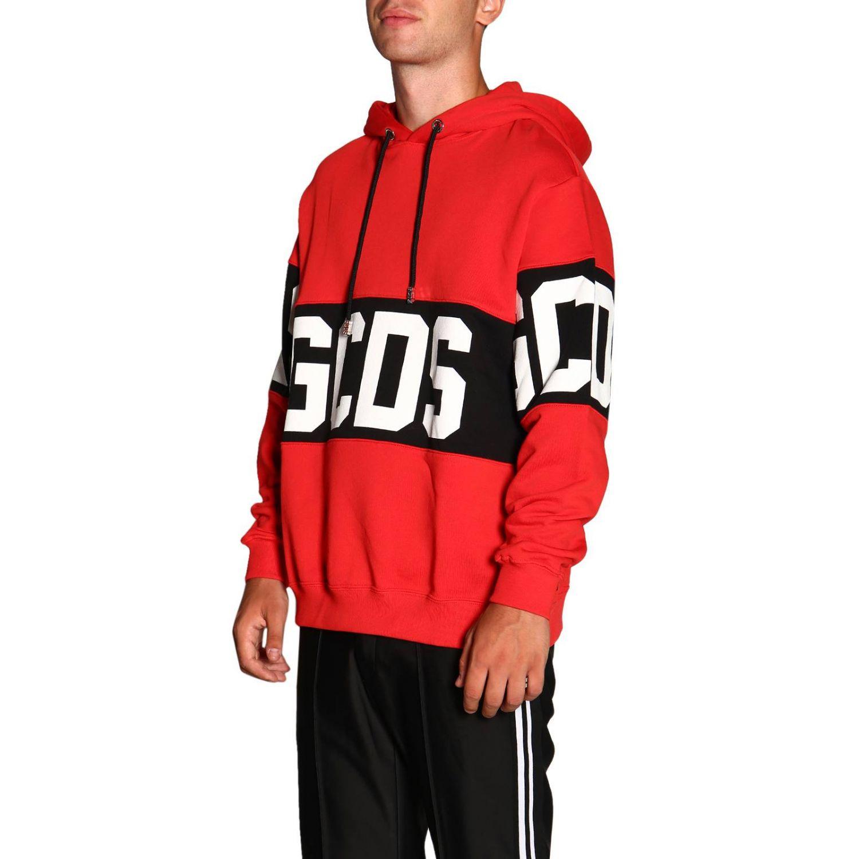 Felpa GCDS a maniche lunghe con maxi logo e cappuccio rosso 4