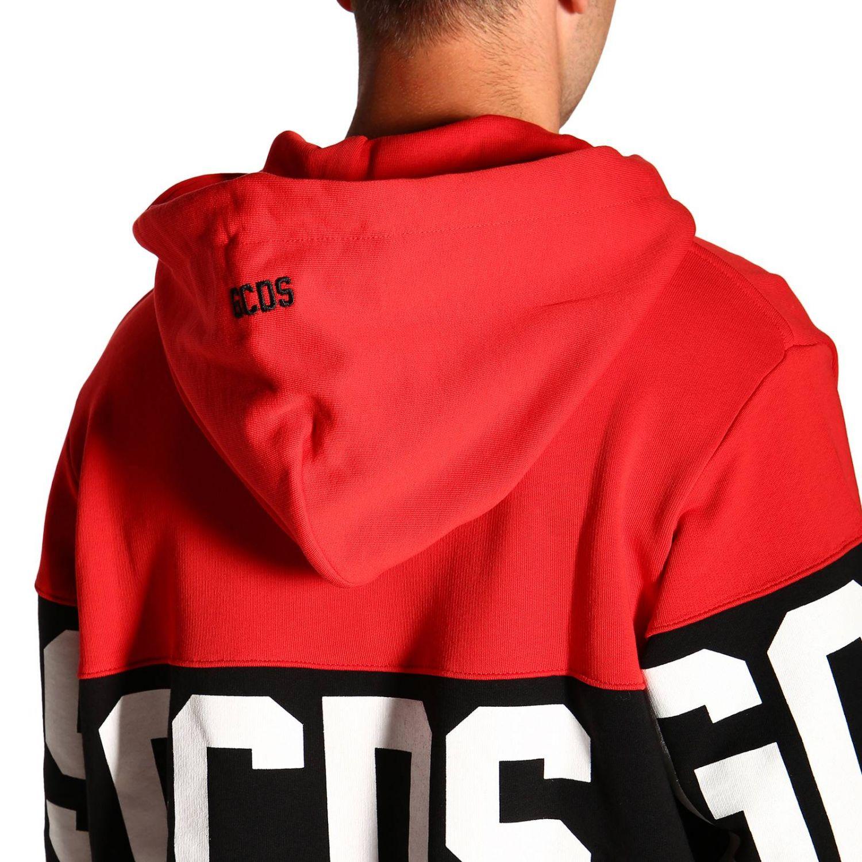 Felpa GCDS a maniche lunghe con maxi logo e cappuccio rosso 5