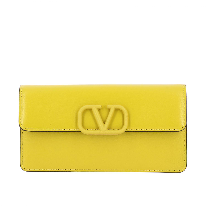Borsa VLogo Valentino Garavani small in pelle liscia giallo 1