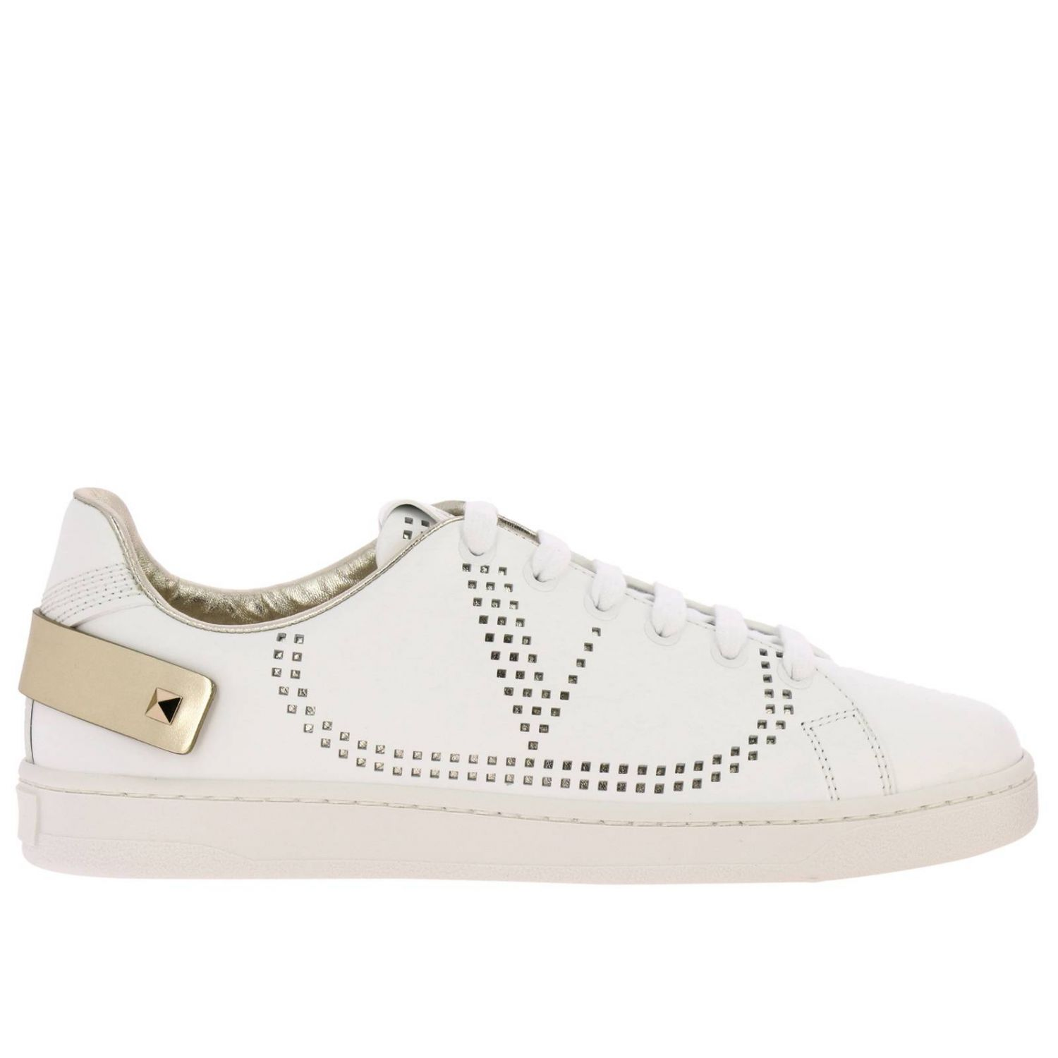 Valentino Garavani Backnet leather sneakers with micro perforated logo white 1