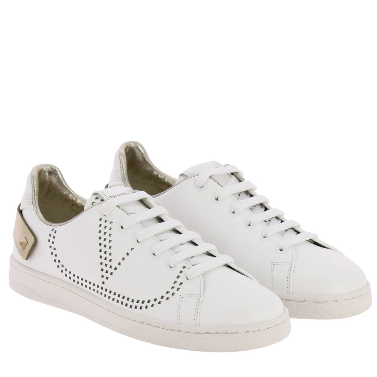 Valentino Garavani Backnet leather sneakers with micro perforated logo white 2