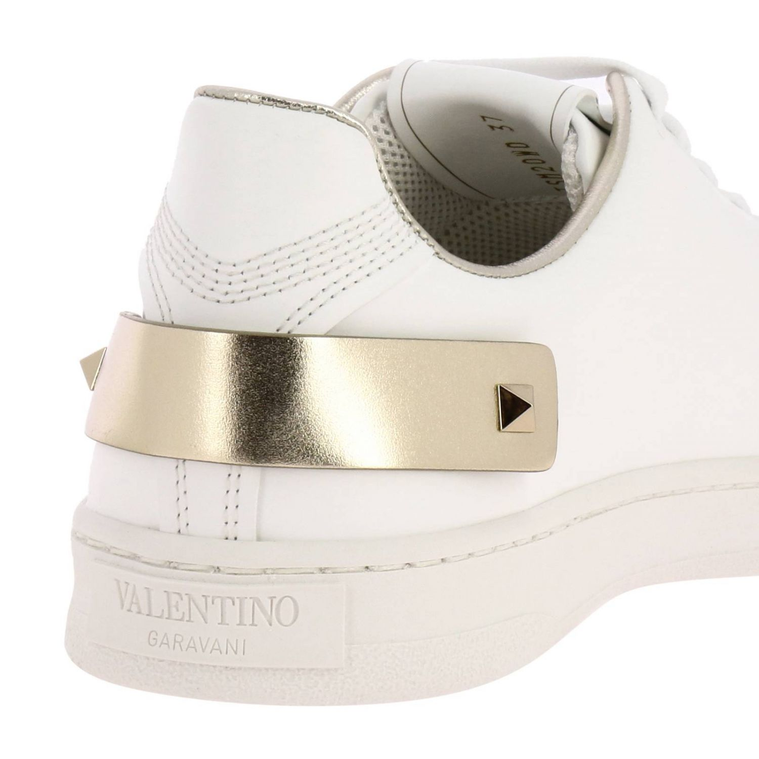 Valentino Garavani Backnet leather sneakers with micro perforated logo white 4