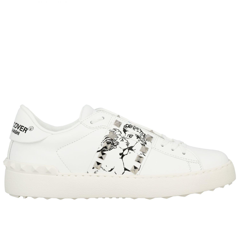Sneakers Undercover Rockstud Valentino Garavani stringata in vera pelle con borchie bianco 1