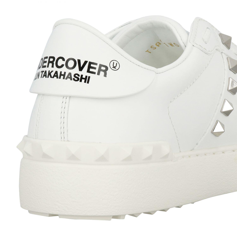 Sneakers Undercover Rockstud Valentino Garavani stringata in vera pelle con borchie bianco 5