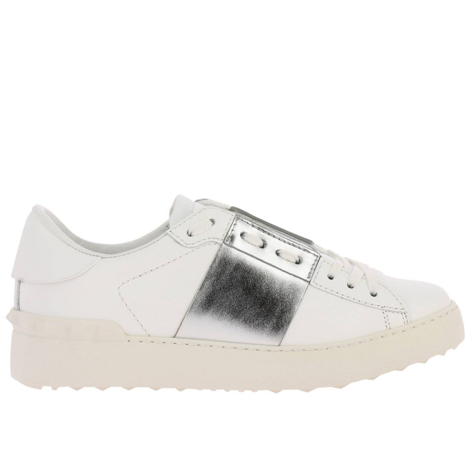 Valentino Garavani Open Rockstud lace-up genuine leather sneakers with laminated band white 1