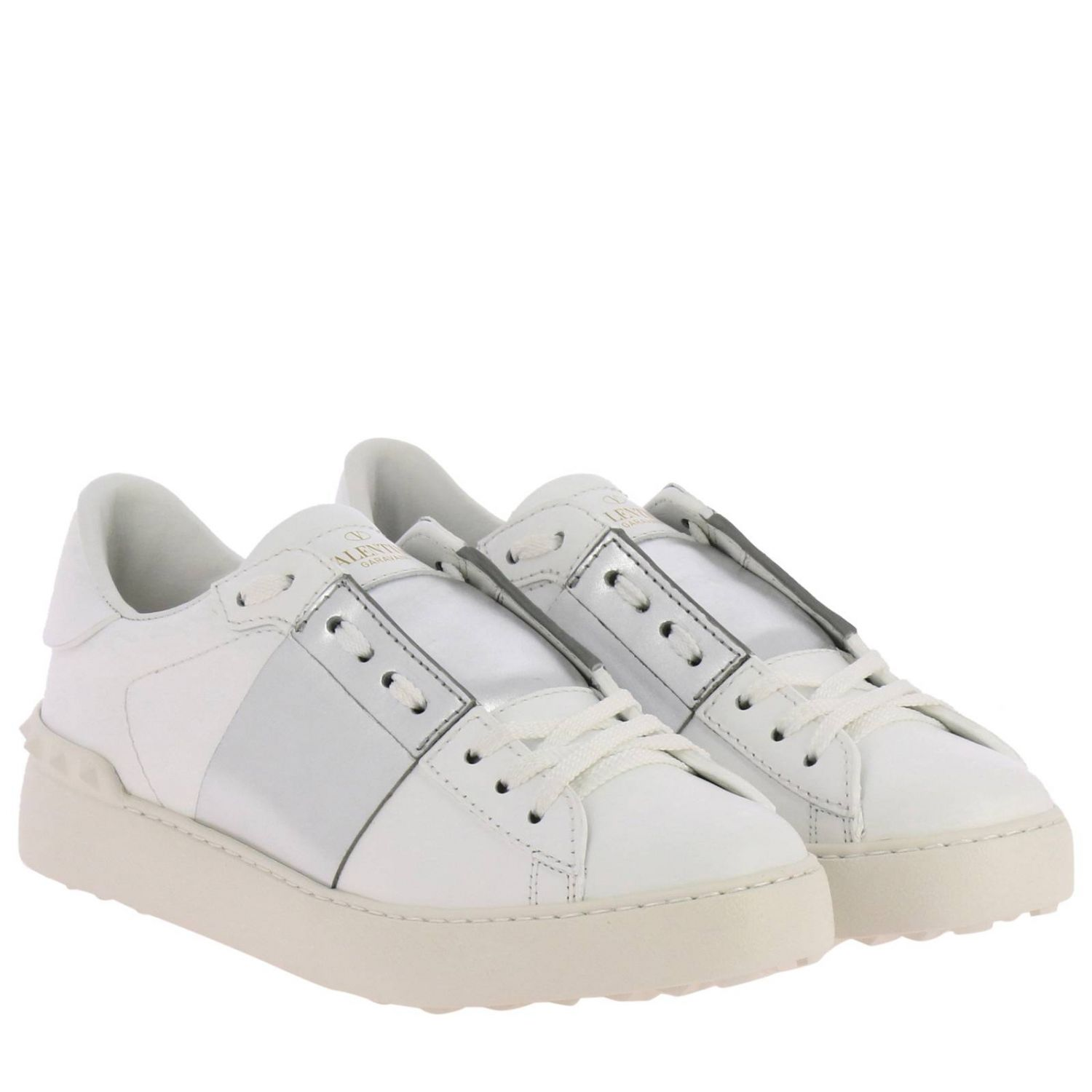 Valentino Garavani Open Rockstud lace-up genuine leather sneakers with laminated band white 2