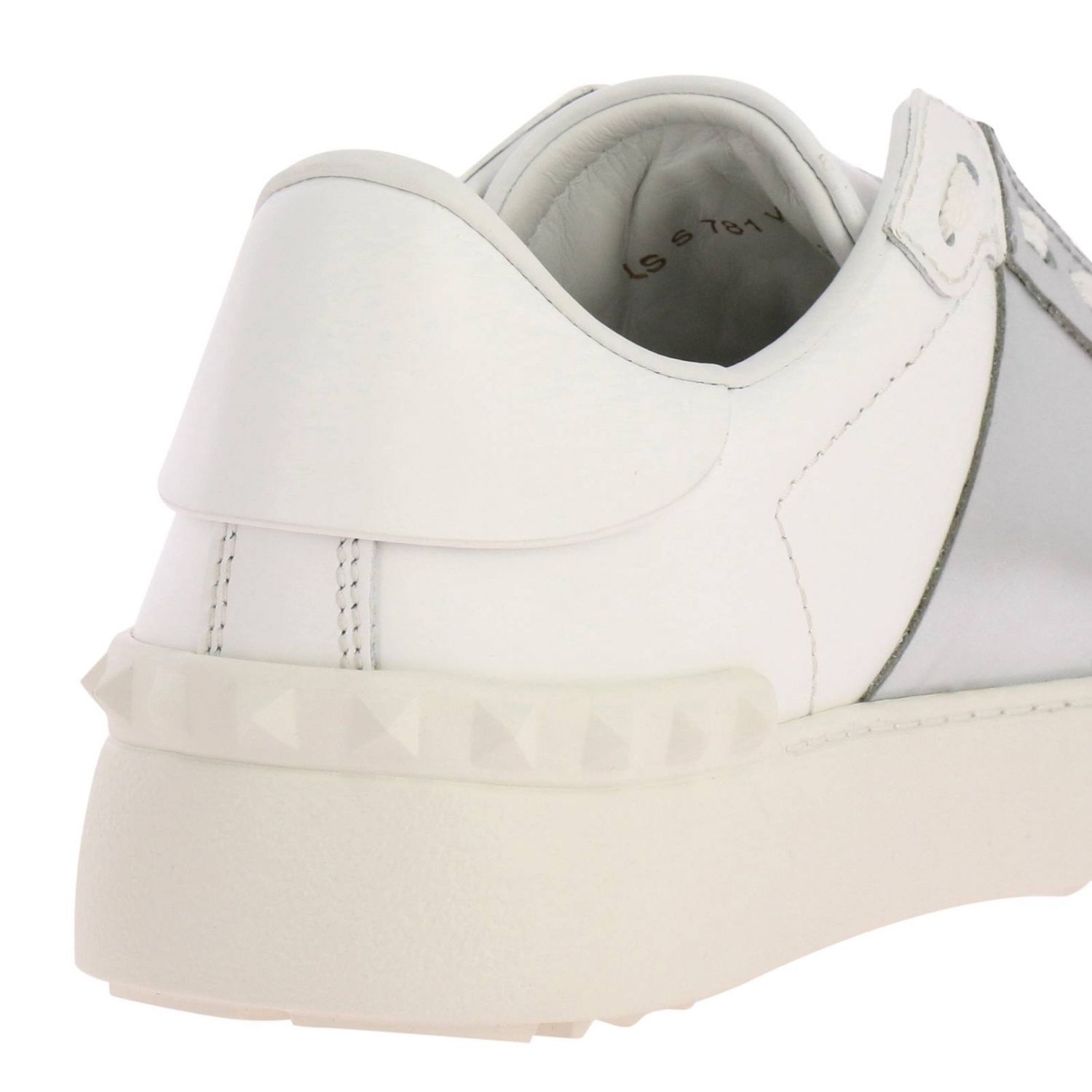 Valentino Garavani Open Rockstud lace-up genuine leather sneakers with laminated band white 4