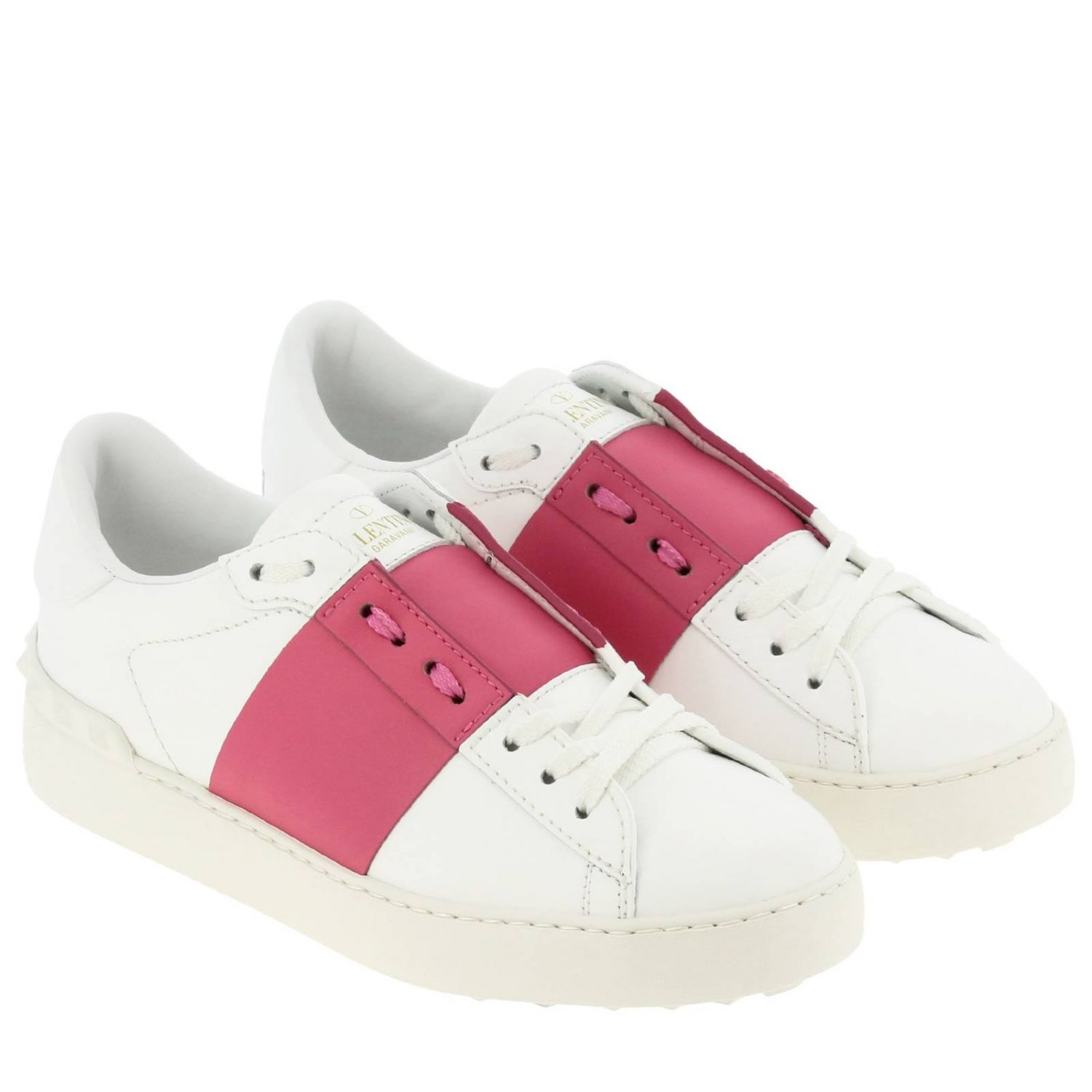 Open Rockstud sneakers Valentino Garavani in genuine leather with band white 2