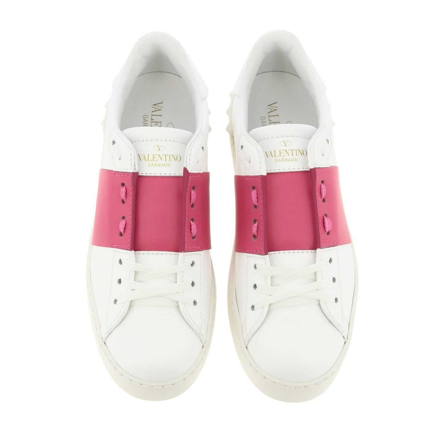 Open Rockstud sneakers Valentino Garavani in genuine leather with band white 3