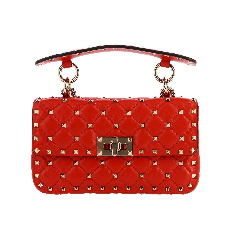 Mini- Tasche Valentino Garavani: Valentino Garavani Rockstud Spike Tasche aus echtem Leder, gesteppt mit Micro-Nieten rot 1