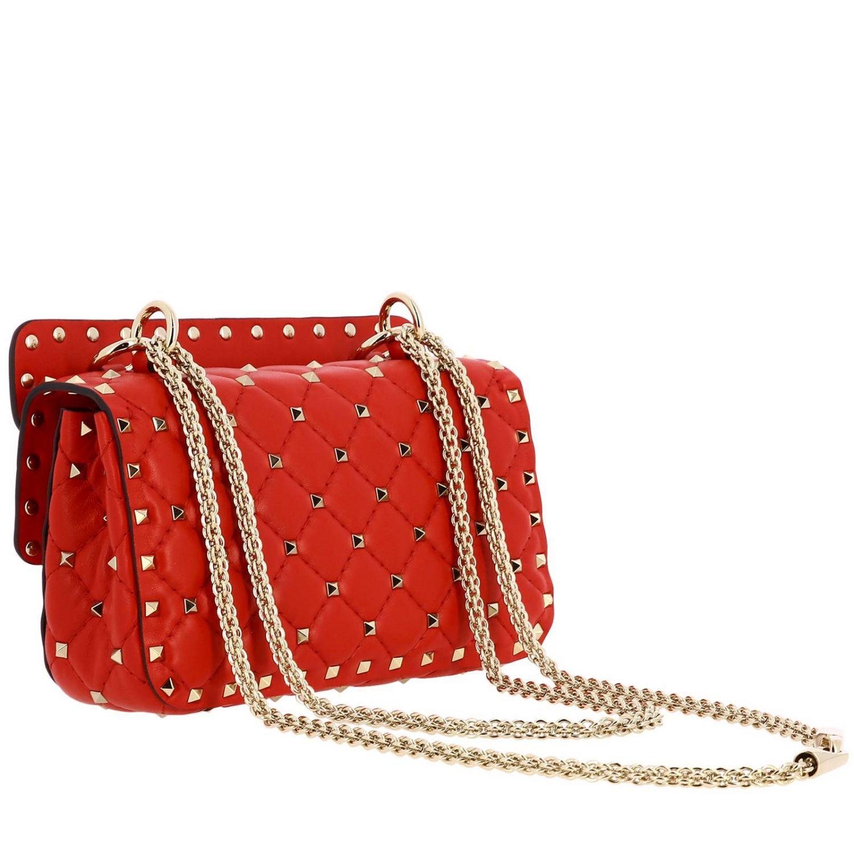 Mini- Tasche Valentino Garavani: Valentino Garavani Rockstud Spike Tasche aus echtem Leder, gesteppt mit Micro-Nieten rot 3