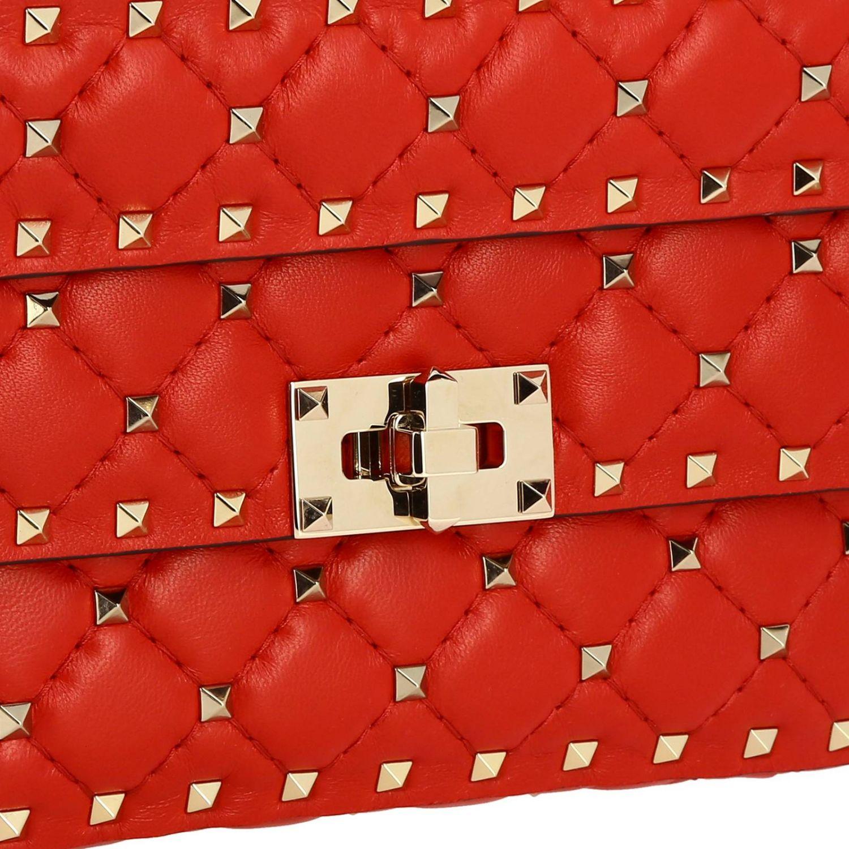 Mini- Tasche Valentino Garavani: Valentino Garavani Rockstud Spike Tasche aus echtem Leder, gesteppt mit Micro-Nieten rot 4