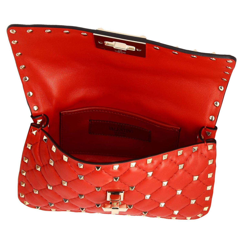 Mini- Tasche Valentino Garavani: Valentino Garavani Rockstud Spike Tasche aus echtem Leder, gesteppt mit Micro-Nieten rot 5