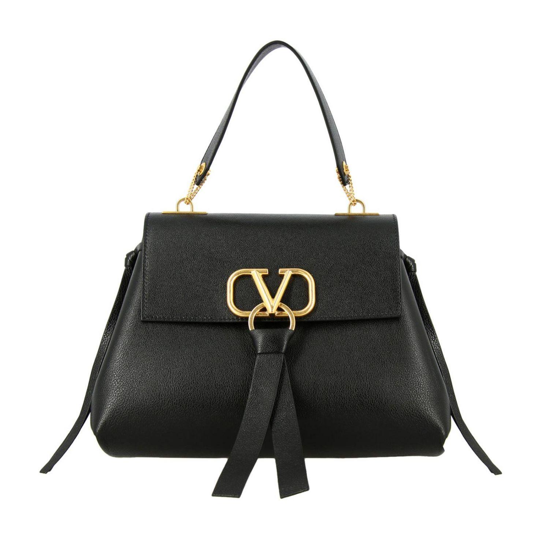 Valentino Garavani VLogo 手袋,采用锤打皮革制成,配有大号monogram V. 黑色 1