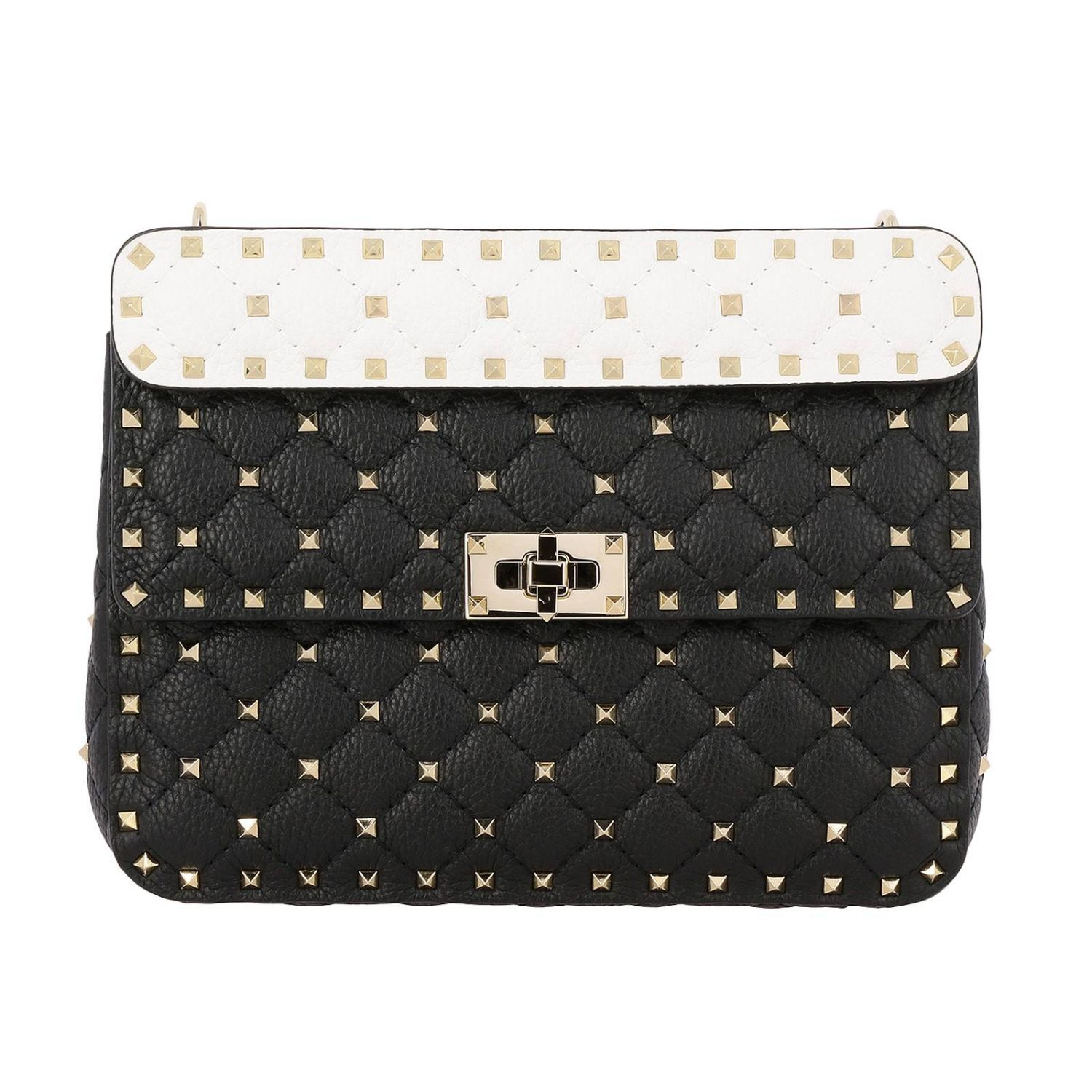 Rockstud Spike quilted leather bag with removable handle and shoulder strap black 1