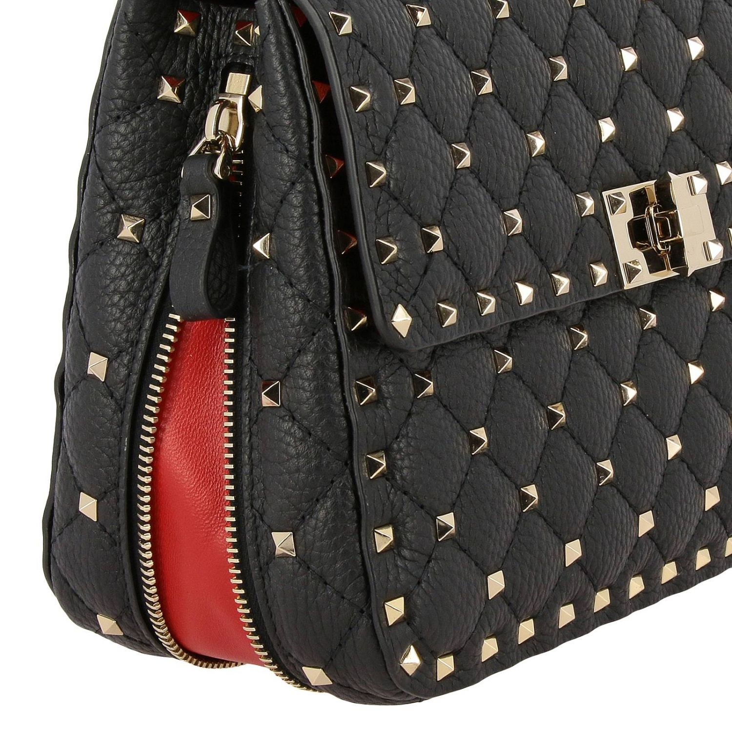 Rockstud Spike quilted leather bag with removable handle and shoulder strap black 4