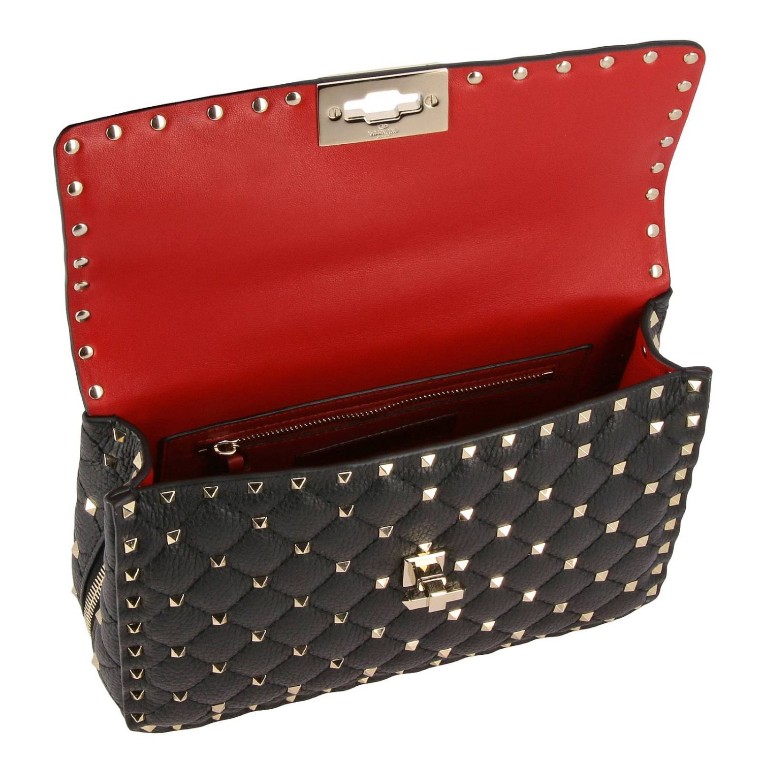 Rockstud Spike quilted leather bag with removable handle and shoulder strap black 5