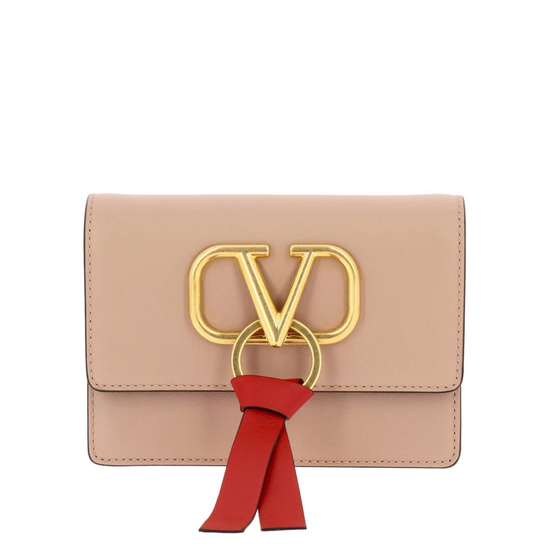 Valentino Garavani VLogo leather bag with maxi V monogram nude 1