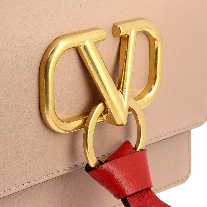 Valentino Garavani VLogo leather bag with maxi V monogram nude 4