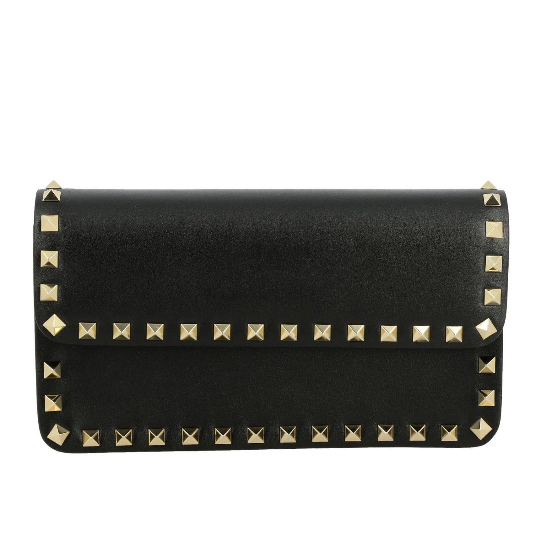 Valentino Garavani Rockstud Spike leather bag  with a thin shoulder strap black 1
