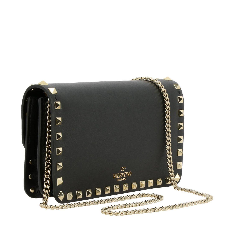 Valentino Garavani Rockstud Spike leather bag  with a thin shoulder strap black 3