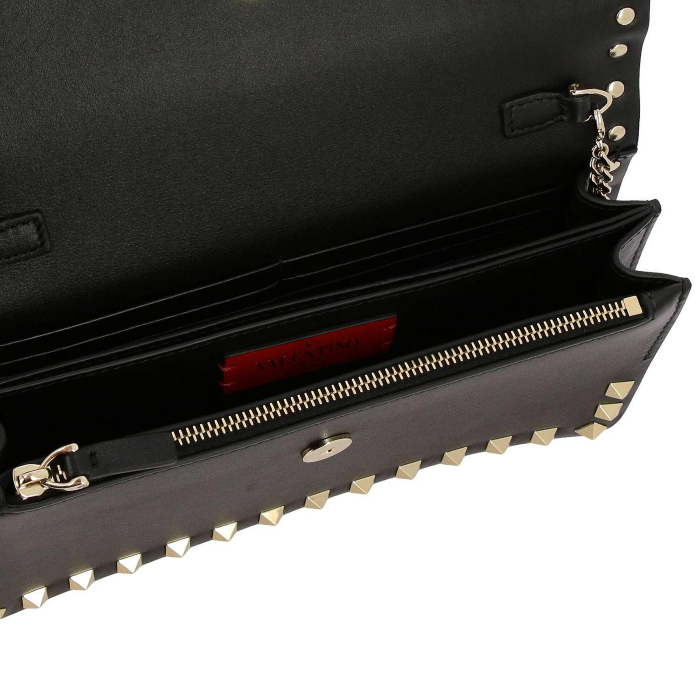 Valentino Garavani Rockstud Spike leather bag  with a thin shoulder strap black 5