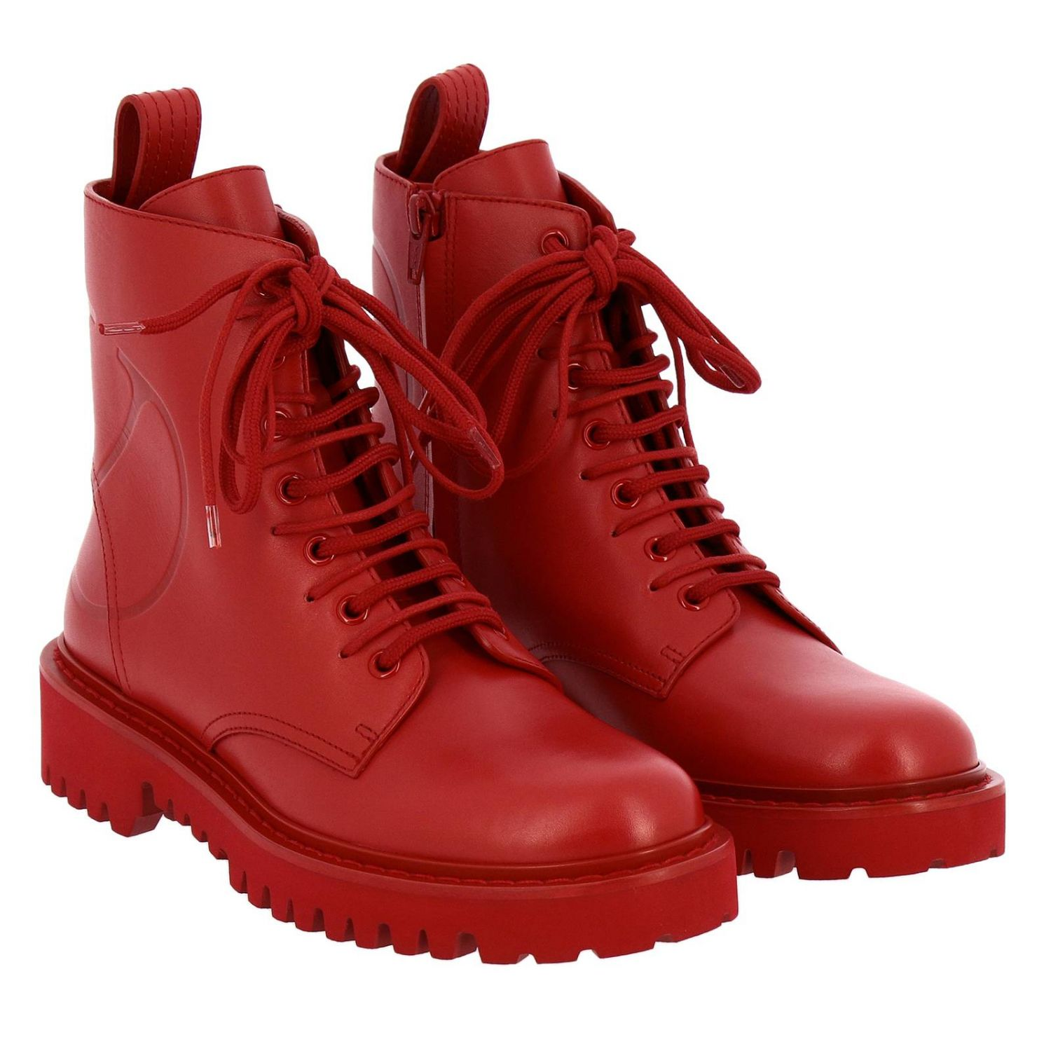 Valentino Garavani VLogo leather boots with rubber sole red 2