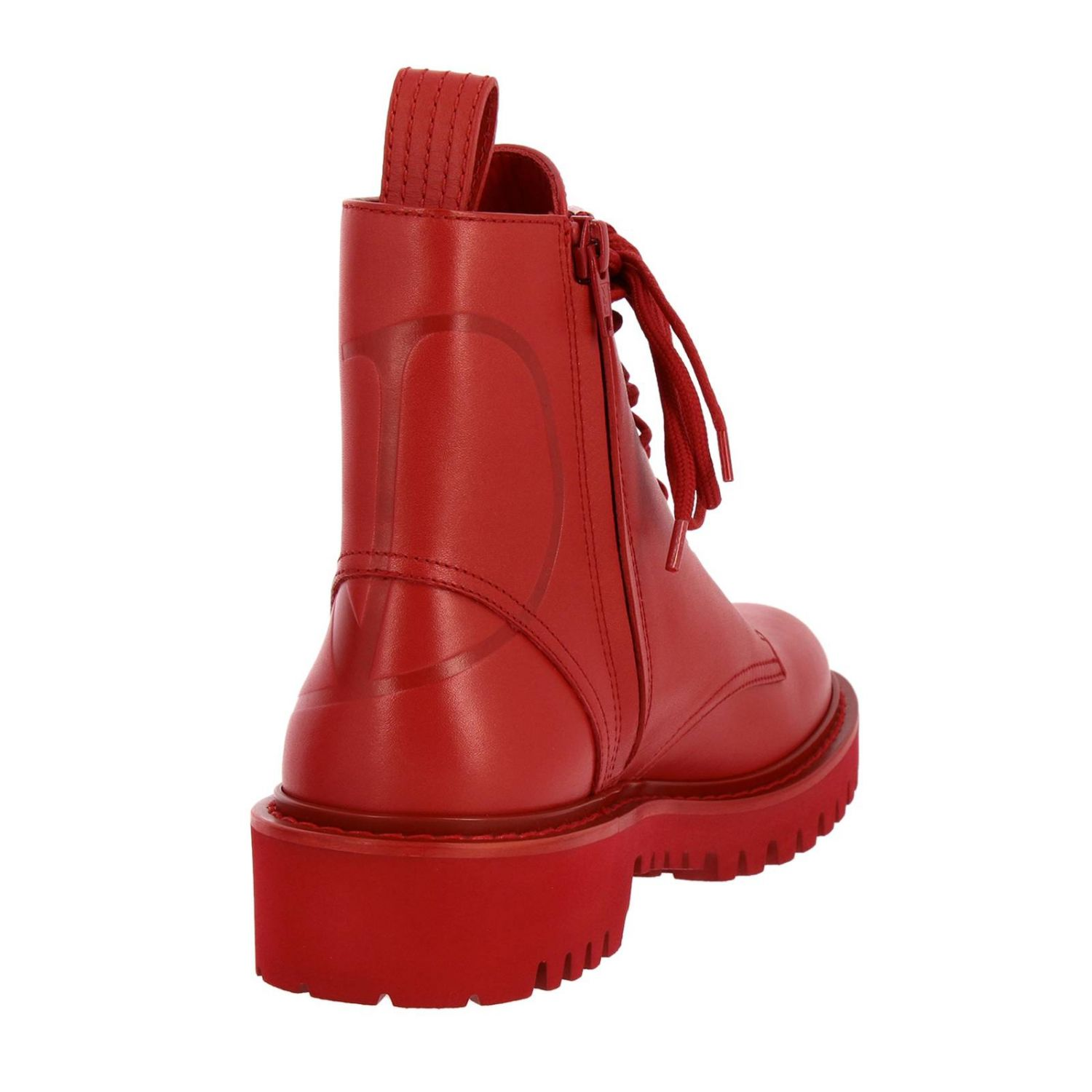 Valentino Garavani VLogo leather boots with rubber sole red 4