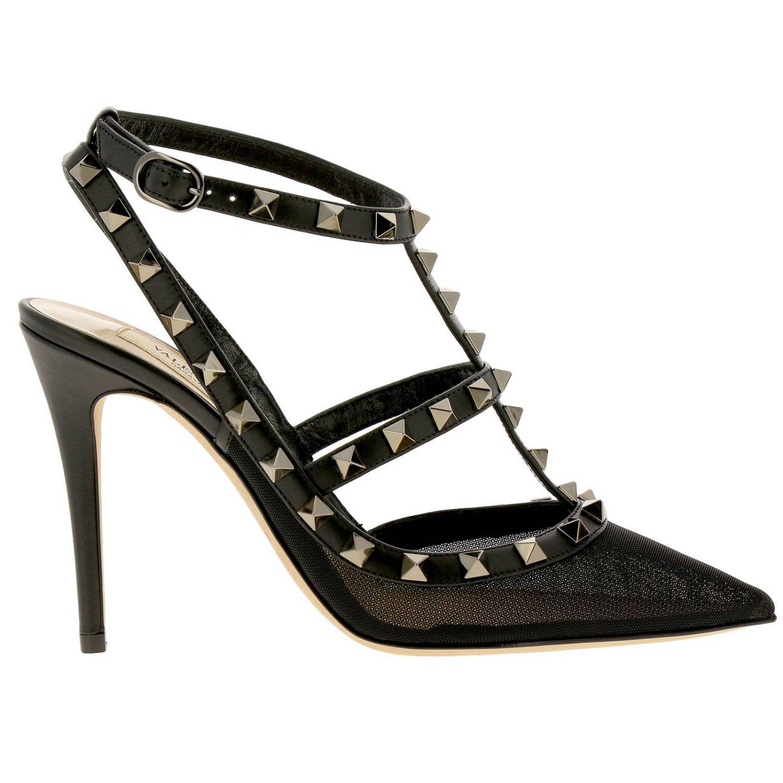 Valentino Garavani Rockstur Ankle Strap aus Leder und Netz mit Metallnieten schwarz 1