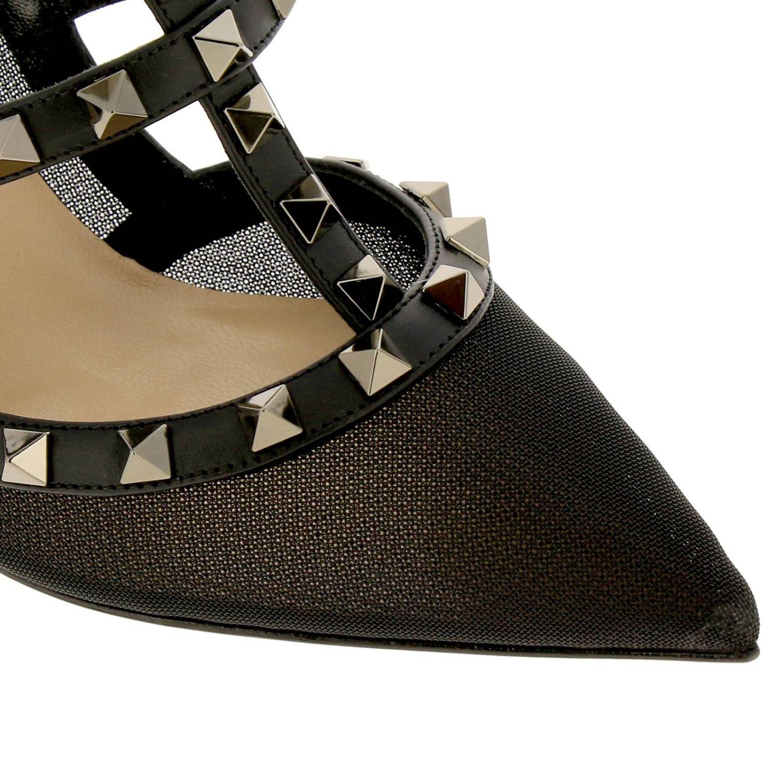 Valentino Garavani Rockstur Ankle Strap aus Leder und Netz mit Metallnieten schwarz 3