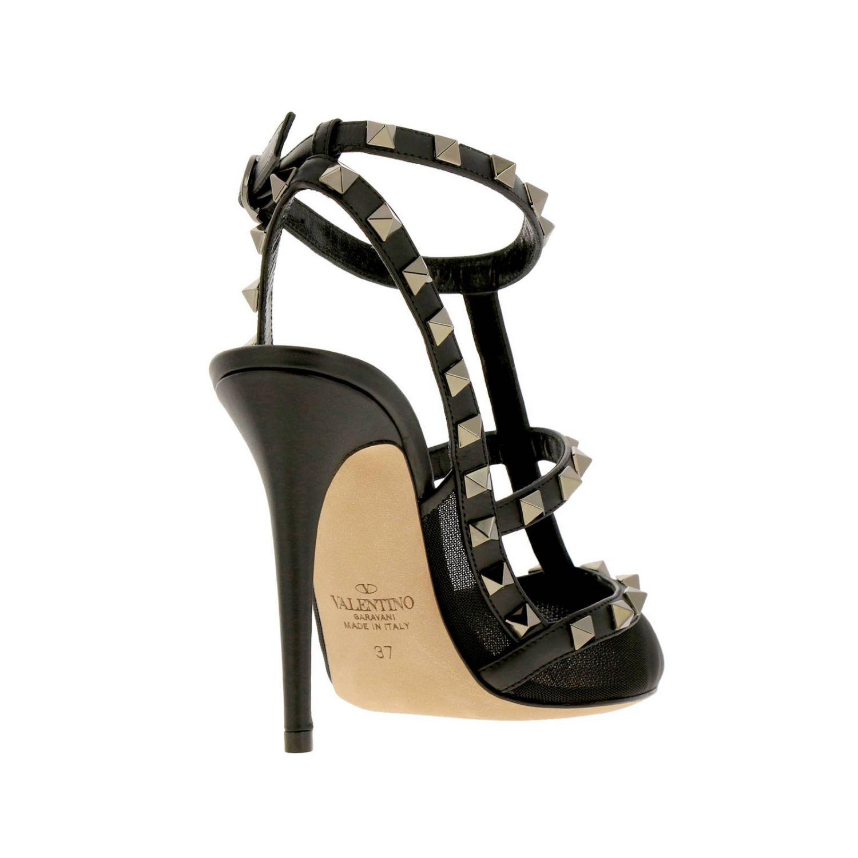 Valentino Garavani Rockstur Ankle Strap aus Leder und Netz mit Metallnieten schwarz 4