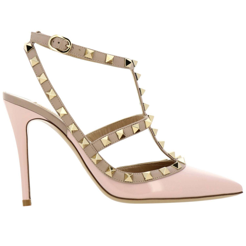 Ankle Strap Rockstud Valentino Garavani in pelle e vernice con borchie metalliche rosa 1