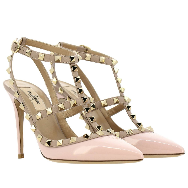 Ankle Strap Rockstud Valentino Garavani in pelle e vernice con borchie metalliche rosa 2