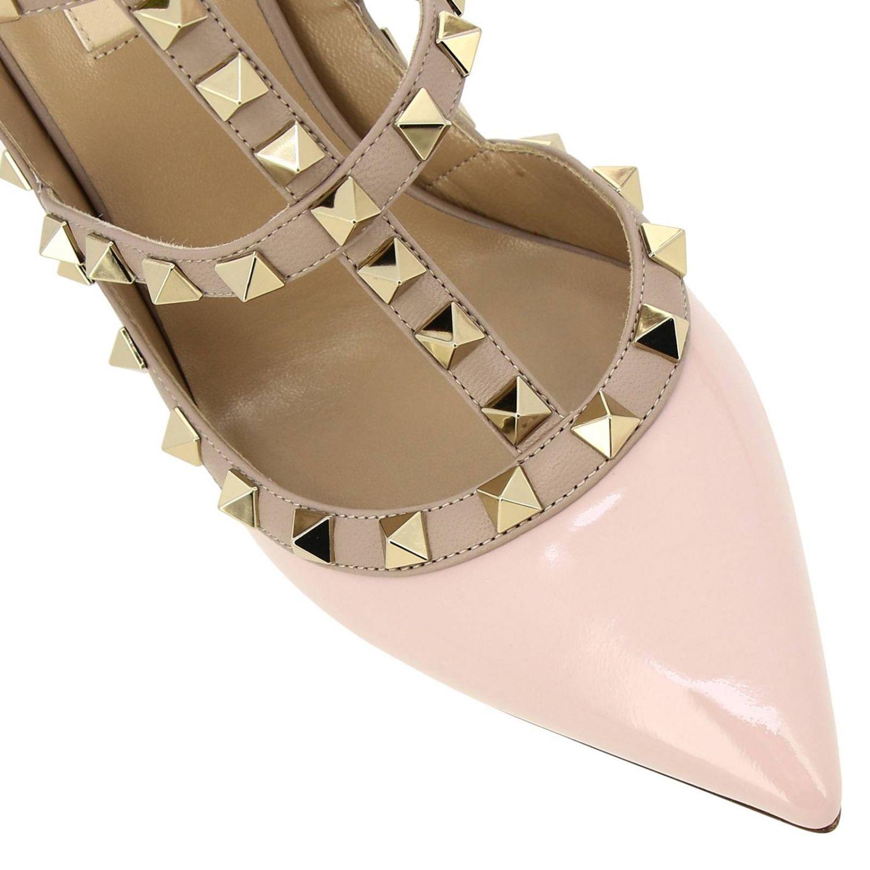 Ankle Strap Rockstud Valentino Garavani in pelle e vernice con borchie metalliche rosa 3