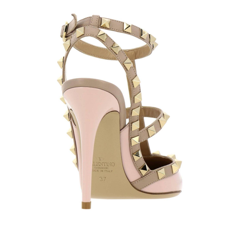 Ankle Strap Rockstud Valentino Garavani in pelle e vernice con borchie metalliche rosa 4