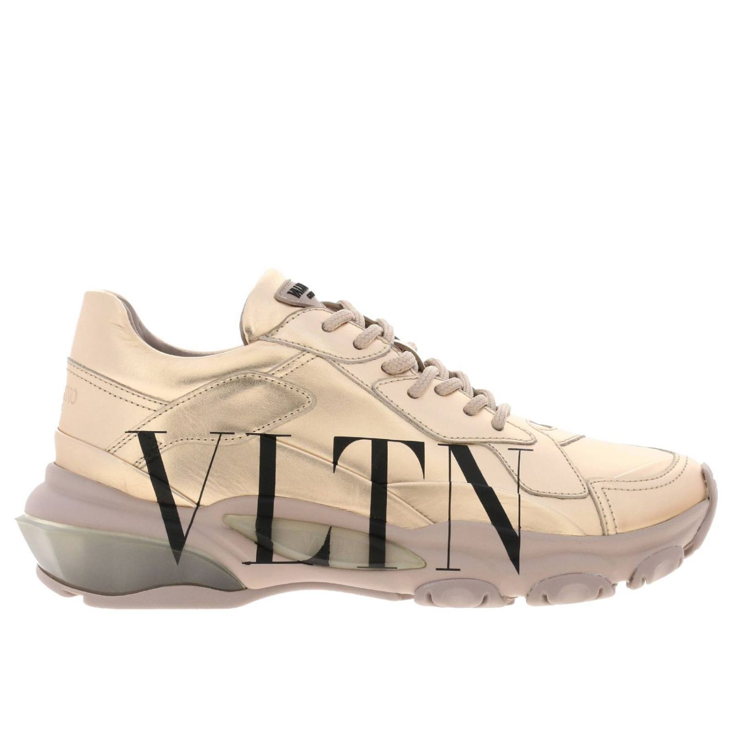 Valentino Garavani laminated genuine leather shoes with VLTN print blush pink 1
