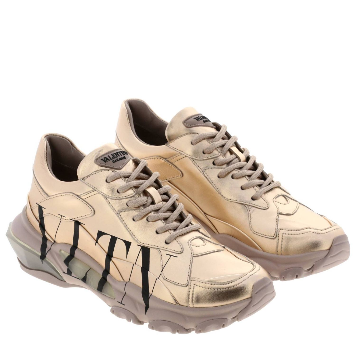 Valentino Garavani laminated genuine leather shoes with VLTN print blush pink 2