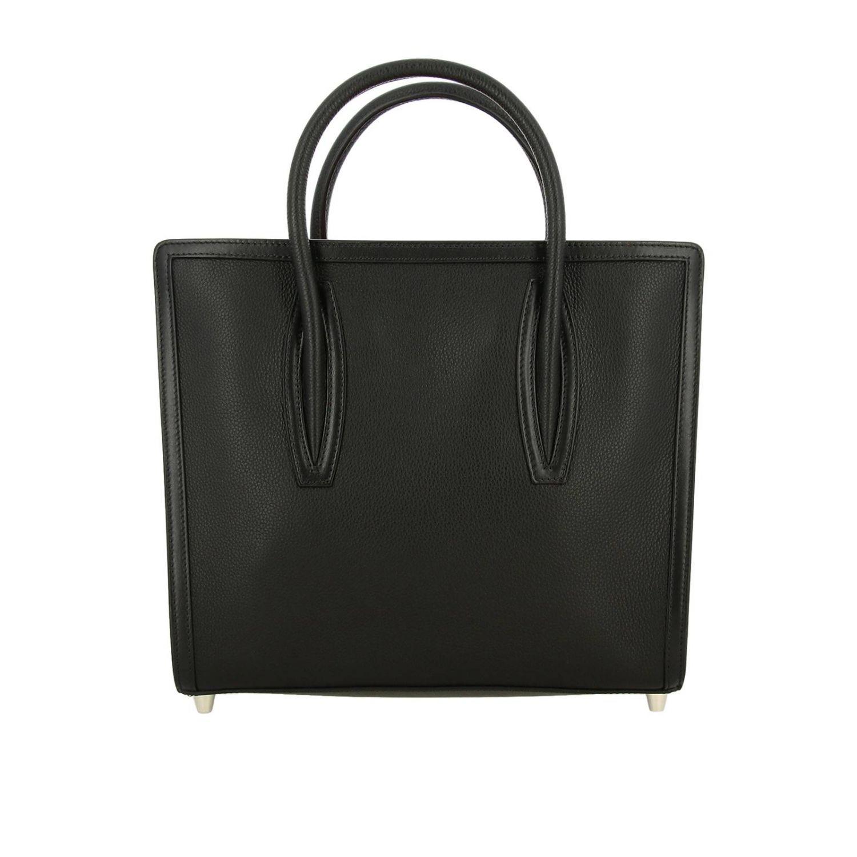 Sac porté main Christian Louboutin: Sac moyen Paloma Christian Louboutin en cuir et caoutchouc avec logo gravé noir 1