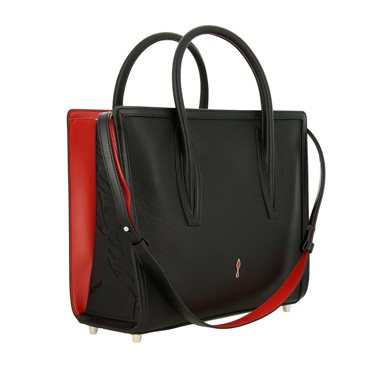 Sac porté main Christian Louboutin: Sac moyen Paloma Christian Louboutin en cuir et caoutchouc avec logo gravé noir 3