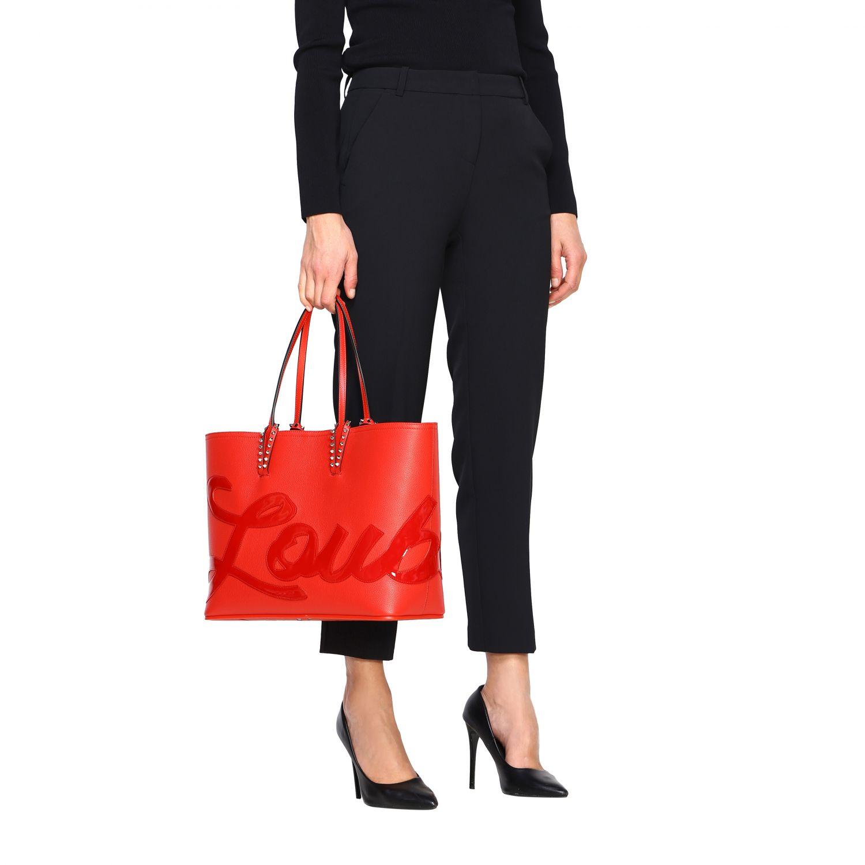 Наплечная сумка Cabata shopping large Christian Louboutin из дубленой кожи с шипами красный 2