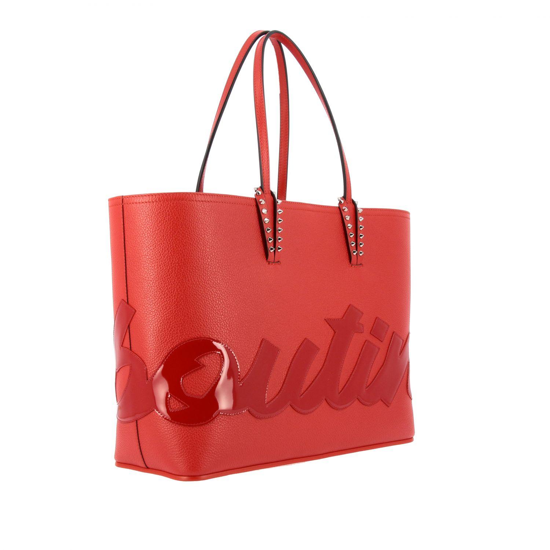 Наплечная сумка Cabata shopping large Christian Louboutin из дубленой кожи с шипами красный 3