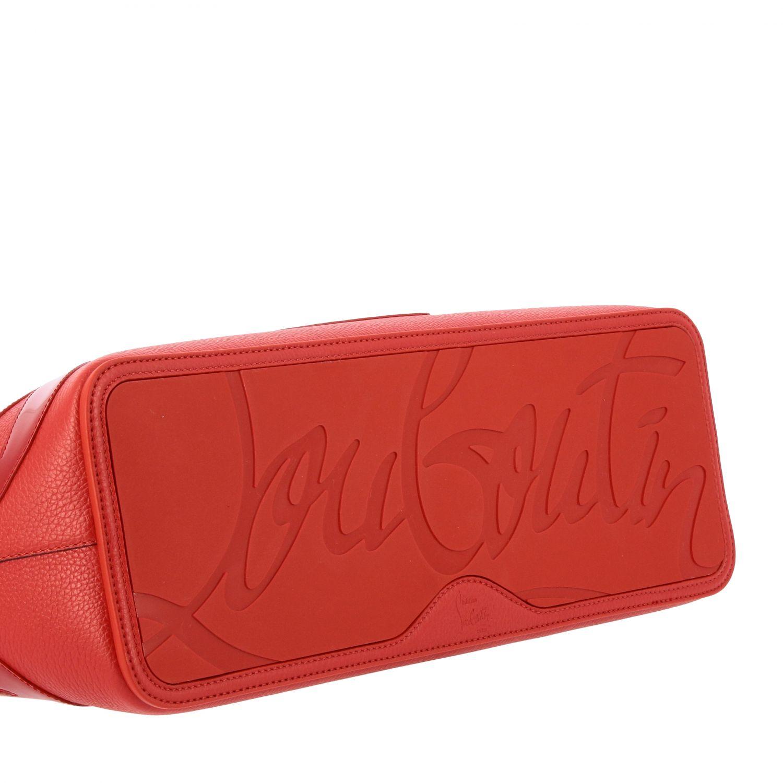 Наплечная сумка Cabata shopping large Christian Louboutin из дубленой кожи с шипами красный 5