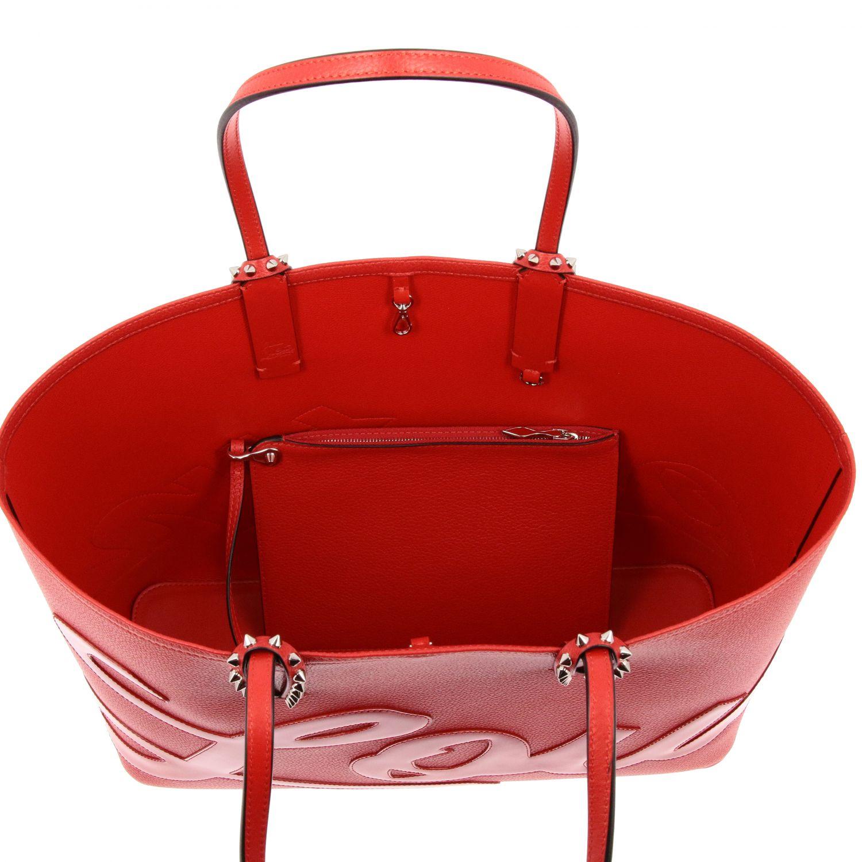 Наплечная сумка Cabata shopping large Christian Louboutin из дубленой кожи с шипами красный 6