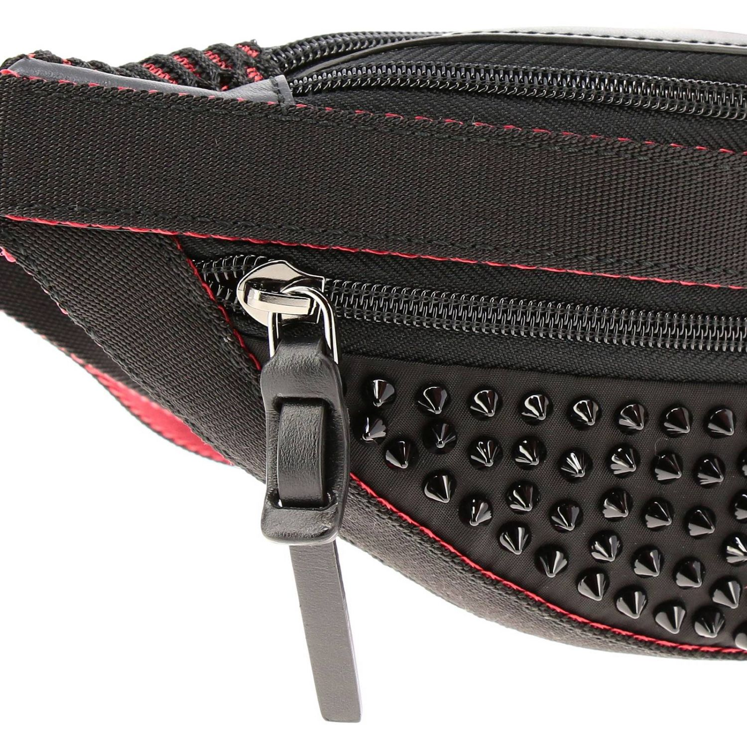 Parisnyc Christian Louboutin belt bag in nylon and leather with studs black 4