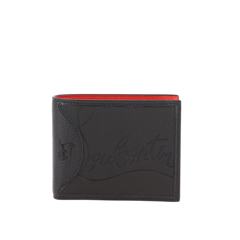 Portafoglio Coolcard Christian Louboutin a libro in pelle con logo nero 1