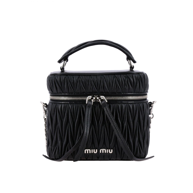 Miu Miu oval Camera bag in matelassé leather black 1