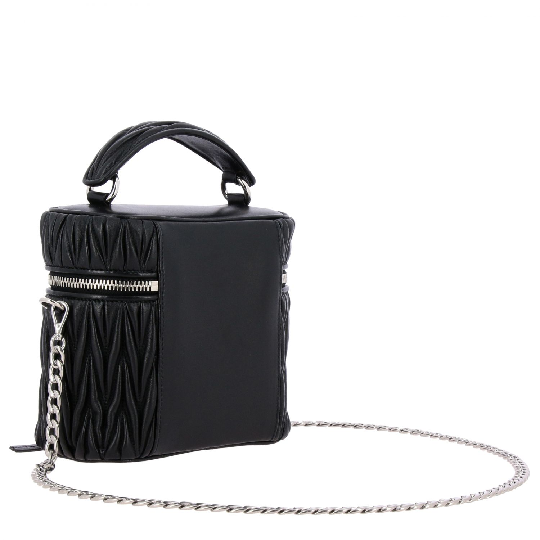 Miu Miu oval Camera bag in matelassé leather black 3